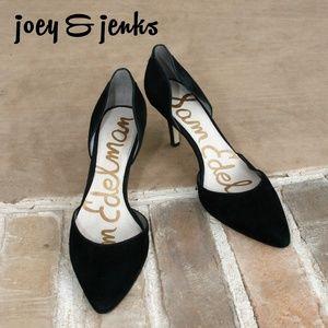 Sam Edelman Black Suede Opal Pumps Heels Shoes 8